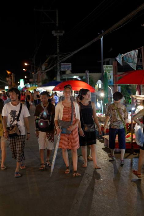 A weekend street market in Chiang Mai. The only time we can walk down the middle of a city street safely!