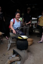 Spinning silk from silkworm cocoons