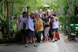 Selfies with kids at the Bamboo School